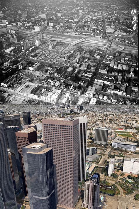 Aerial views of Bunker Hill and the Civic Center, 1955-c
